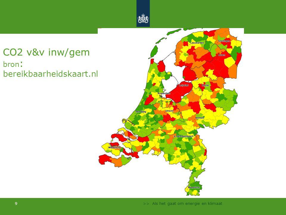 >> Als het gaat om energie en klimaat 9 CO2 v&v inw/gem bron : bereikbaarheidskaart.nl