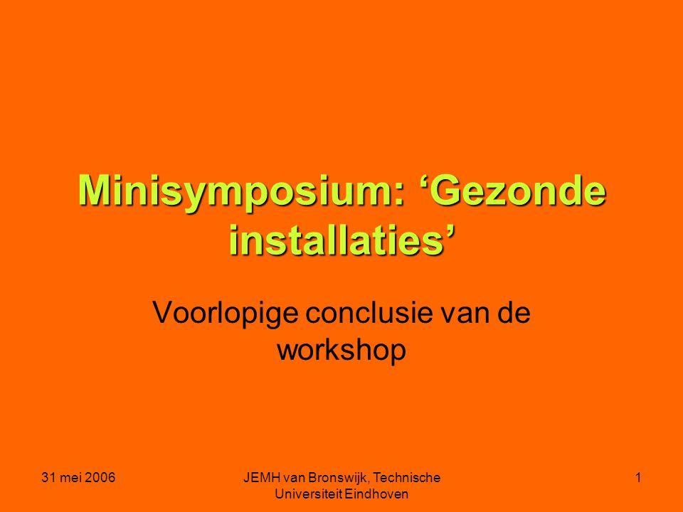 31 mei 2006JEMH van Bronswijk, Technische Universiteit Eindhoven 1 Minisymposium: 'Gezonde installaties' Voorlopige conclusie van de workshop