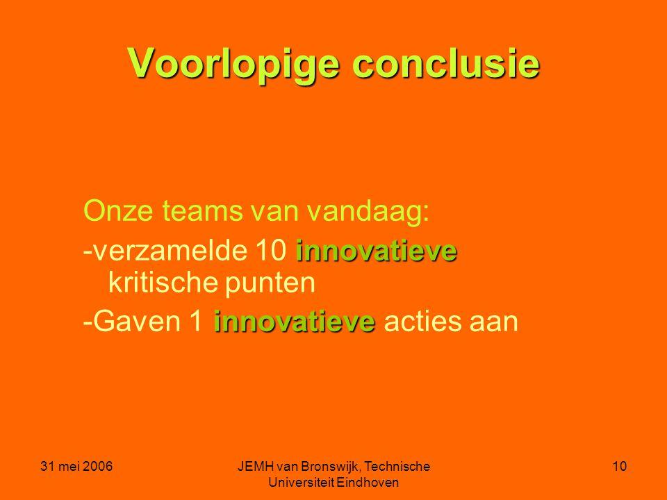 31 mei 2006JEMH van Bronswijk, Technische Universiteit Eindhoven 10 Voorlopige conclusie Onze teams van vandaag: innovatieve -verzamelde 10 innovatieve kritische punten innovatieve -Gaven 1 innovatieve acties aan