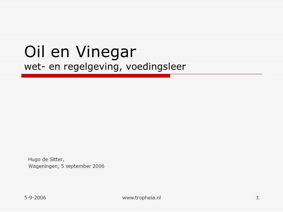 5-9-2006www.tropheia.nl1 Oil en Vinegar wet- en regelgeving, voedingsleer Hugo de Sitter, Wageningen, 5 september 2006