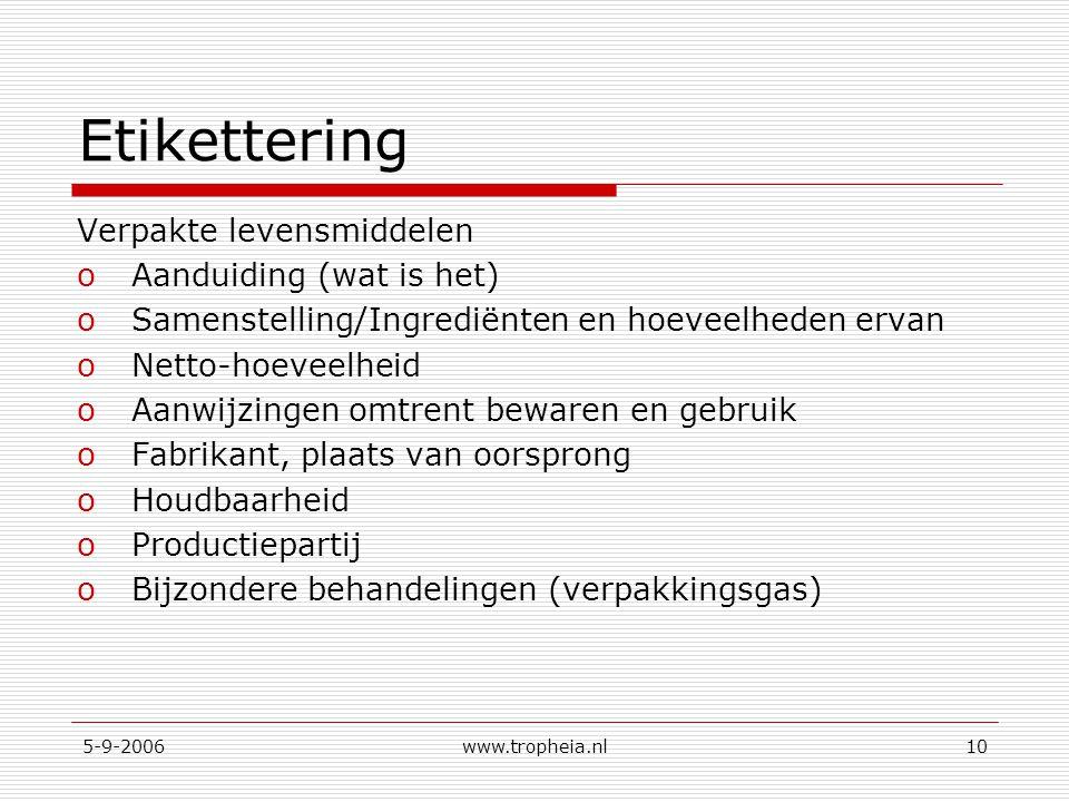 5-9-2006www.tropheia.nl10 Etikettering Verpakte levensmiddelen oAanduiding (wat is het) oSamenstelling/Ingrediënten en hoeveelheden ervan oNetto-hoeveelheid oAanwijzingen omtrent bewaren en gebruik oFabrikant, plaats van oorsprong oHoudbaarheid oProductiepartij oBijzondere behandelingen (verpakkingsgas)