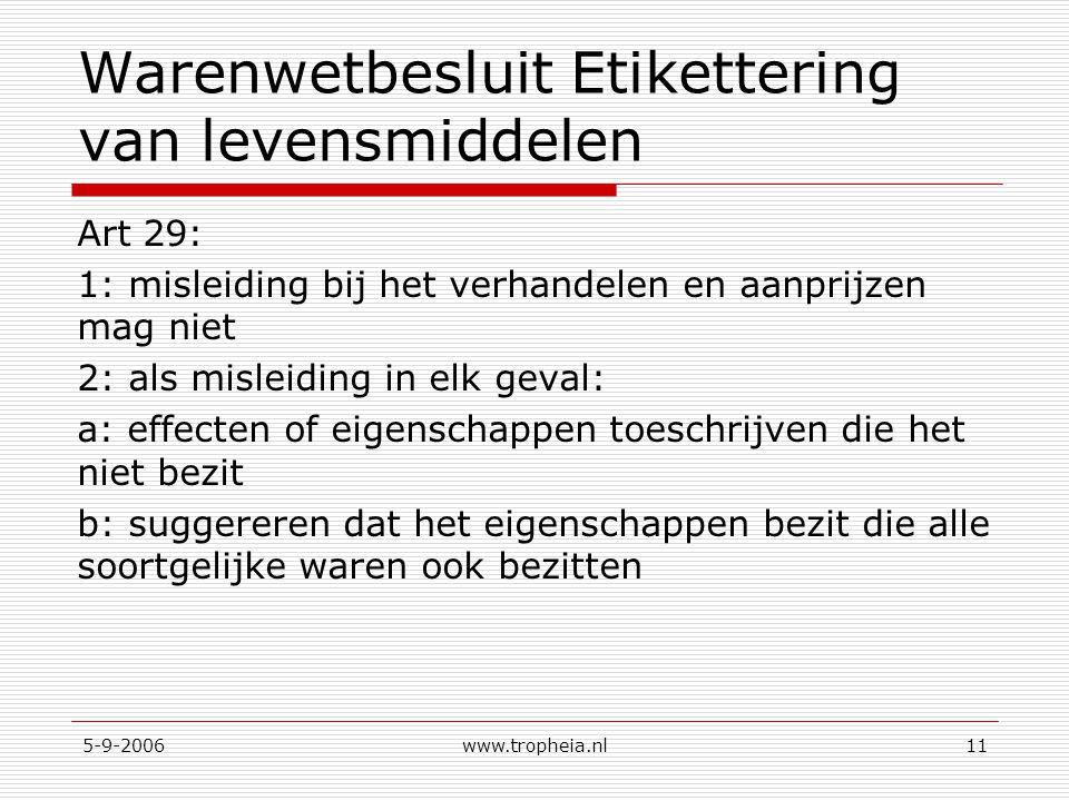 5-9-2006www.tropheia.nl11 Warenwetbesluit Etikettering van levensmiddelen Art 29: 1: misleiding bij het verhandelen en aanprijzen mag niet 2: als misleiding in elk geval: a: effecten of eigenschappen toeschrijven die het niet bezit b: suggereren dat het eigenschappen bezit die alle soortgelijke waren ook bezitten