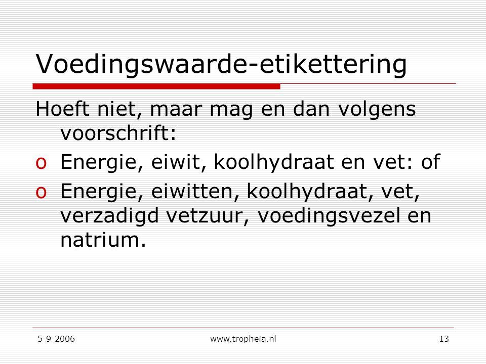 5-9-2006www.tropheia.nl13 Voedingswaarde-etikettering Hoeft niet, maar mag en dan volgens voorschrift: oEnergie, eiwit, koolhydraat en vet: of oEnergi
