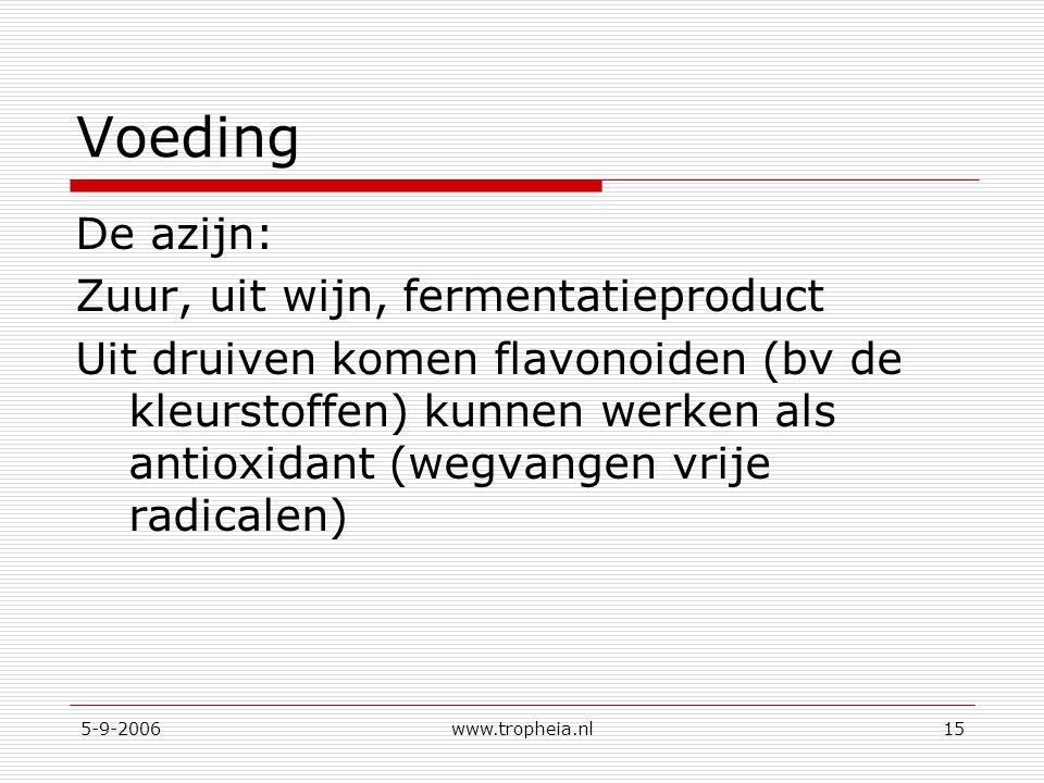 5-9-2006www.tropheia.nl15 Voeding De azijn: Zuur, uit wijn, fermentatieproduct Uit druiven komen flavonoiden (bv de kleurstoffen) kunnen werken als antioxidant (wegvangen vrije radicalen)