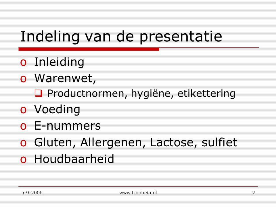 5-9-2006www.tropheia.nl2 Indeling van de presentatie oInleiding oWarenwet,  Productnormen, hygiëne, etikettering oVoeding oE-nummers oGluten, Allergenen, Lactose, sulfiet oHoudbaarheid
