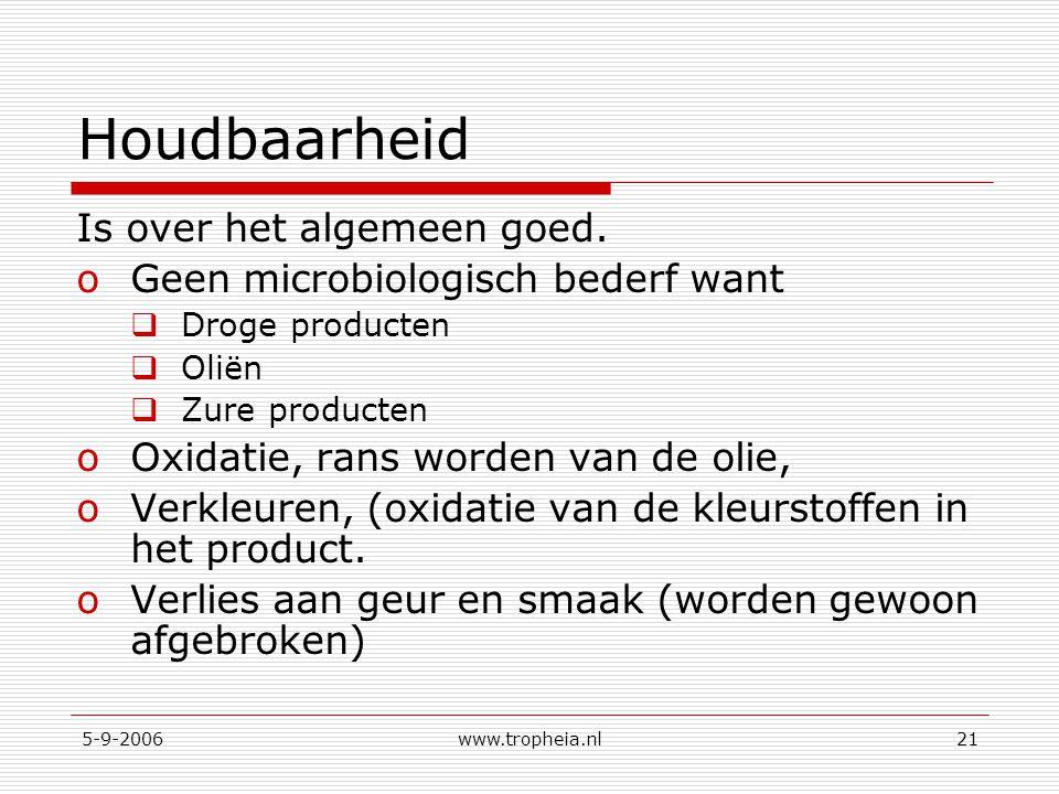 5-9-2006www.tropheia.nl21 Houdbaarheid Is over het algemeen goed. oGeen microbiologisch bederf want  Droge producten  Oliën  Zure producten oOxidat