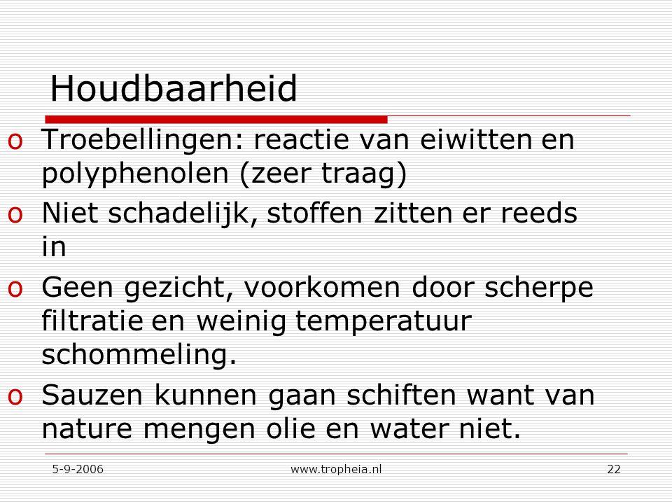 5-9-2006www.tropheia.nl22 Houdbaarheid oTroebellingen: reactie van eiwitten en polyphenolen (zeer traag) oNiet schadelijk, stoffen zitten er reeds in oGeen gezicht, voorkomen door scherpe filtratie en weinig temperatuur schommeling.