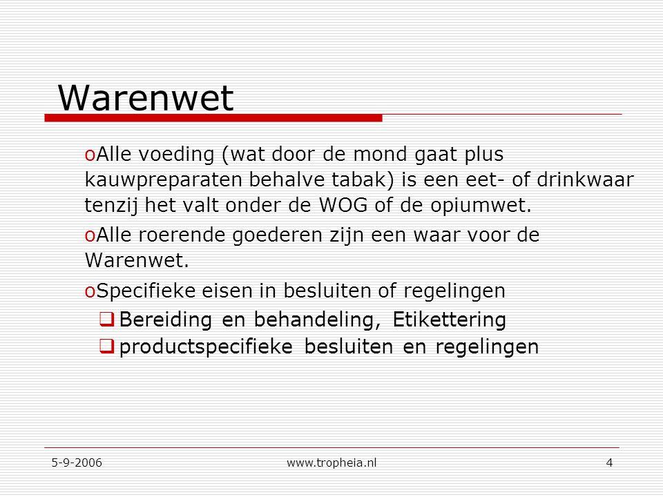 5-9-2006www.tropheia.nl4 Warenwet oAlle voeding (wat door de mond gaat plus kauwpreparaten behalve tabak) is een eet- of drinkwaar tenzij het valt onder de WOG of de opiumwet.