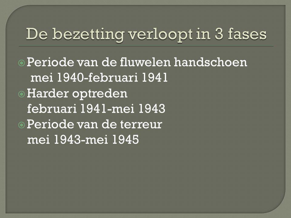  Periode van de fluwelen handschoen mei 1940-februari 1941  Harder optreden februari 1941-mei 1943  Periode van de terreur mei 1943-mei 1945