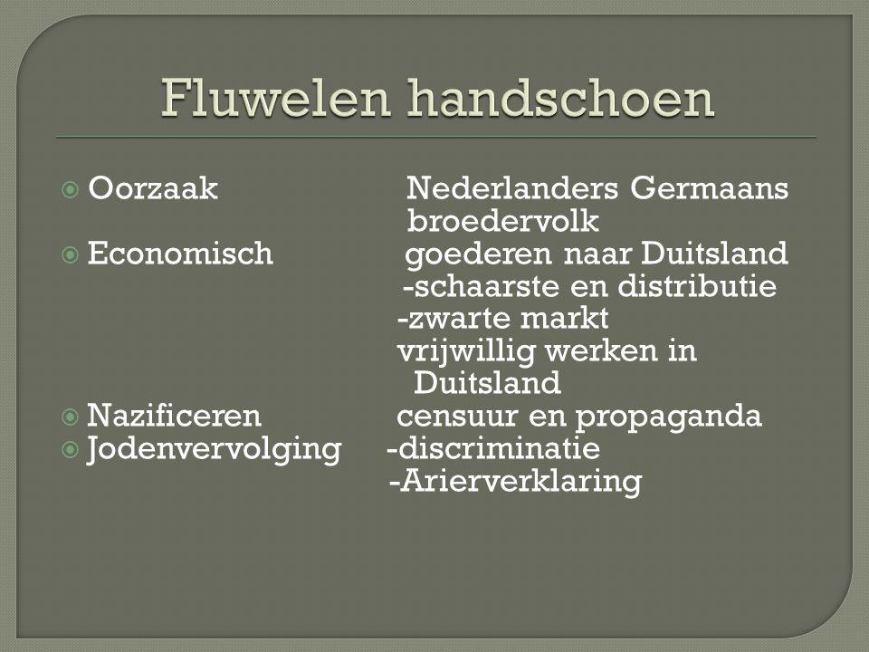  Oorzaak Nederlanders Germaans broedervolk  Economisch goederen naar Duitsland -schaarste en distributie -zwarte markt vrijwillig werken in Duitslan