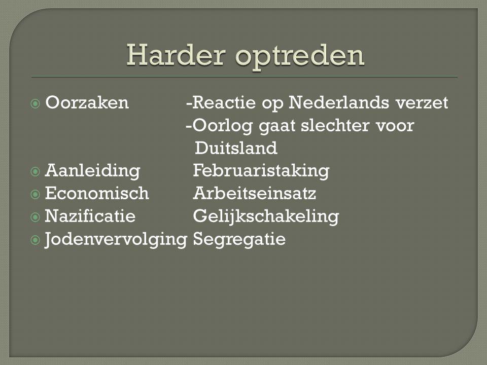  Oorzaken -Reactie op Nederlands verzet -Oorlog gaat slechter voor Duitsland  Aanleiding Februaristaking  Economisch Arbeitseinsatz  Nazificatie G