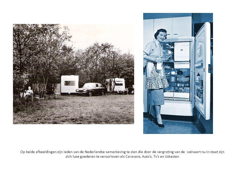Op beide afbeeldingen zijn leden van de Nederlandse samenleving te zien die door de vergroting van de welvaart nu in staat zijn zich luxe goederen te