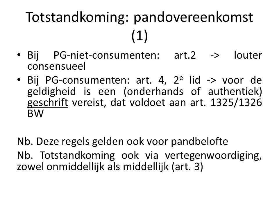 Totstandkoming: pandovereenkomst (2) Regels voor bewijs van de pandovereenkomst (1) Consumenten-PG: art.