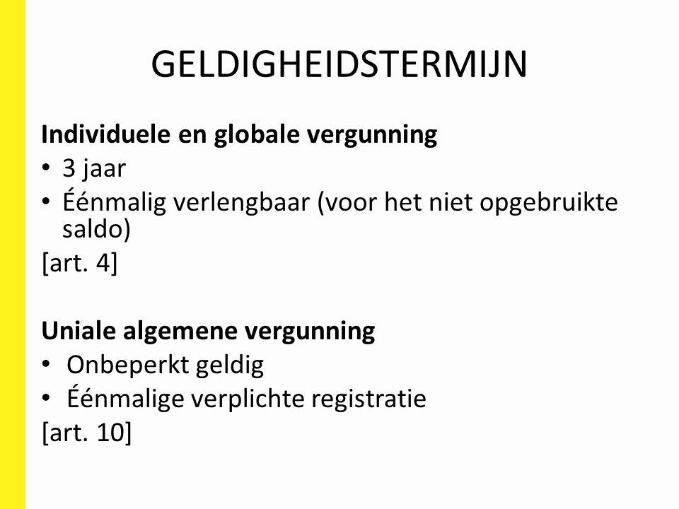 GELDIGHEIDSTERMIJN Individuele en globale vergunning 3 jaar Éénmalig verlengbaar (voor het niet opgebruikte saldo) [art.