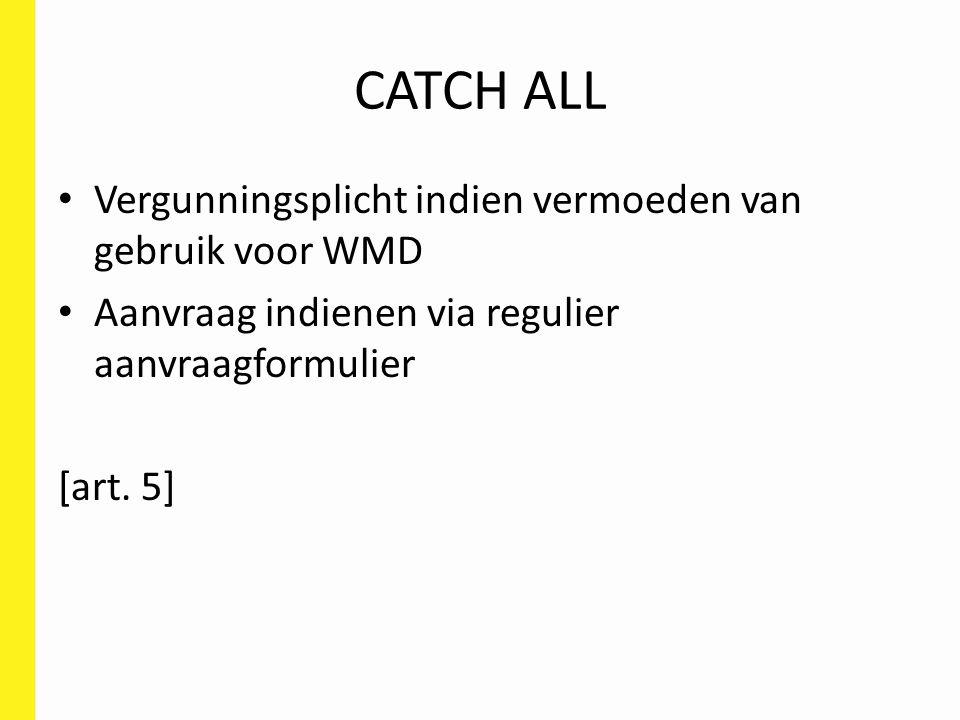 CATCH ALL Vergunningsplicht indien vermoeden van gebruik voor WMD Aanvraag indienen via regulier aanvraagformulier [art.