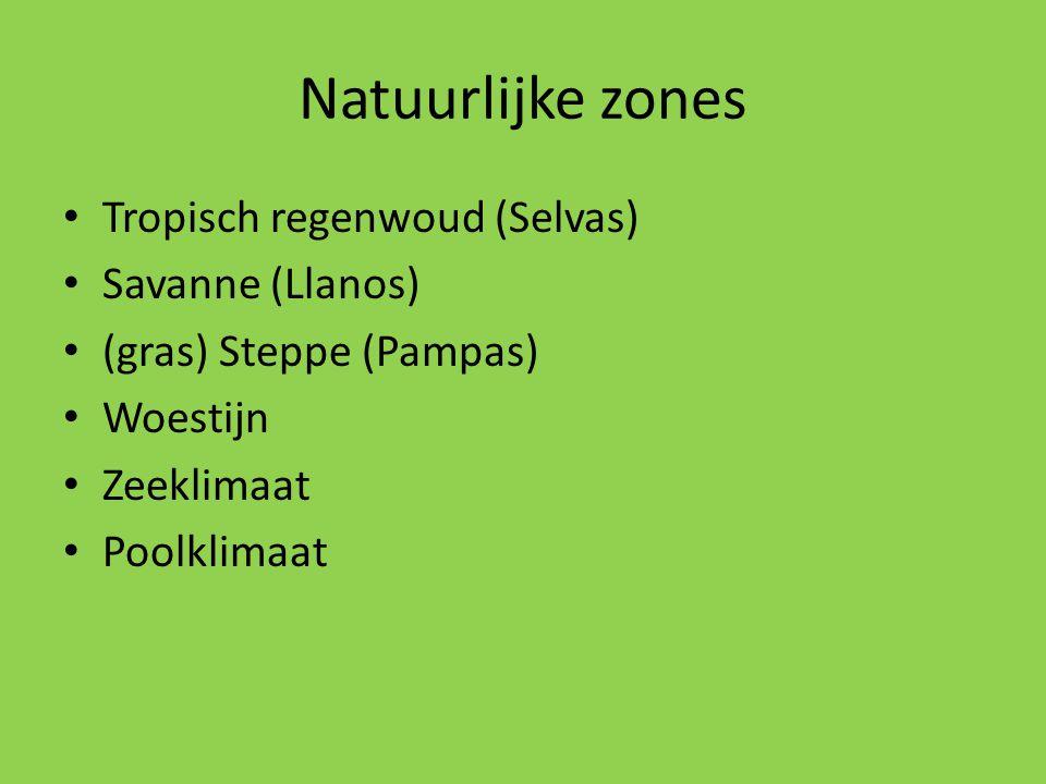 Natuurlijke zones Tropisch regenwoud (Selvas) Savanne (Llanos) (gras) Steppe (Pampas) Woestijn Zeeklimaat Poolklimaat