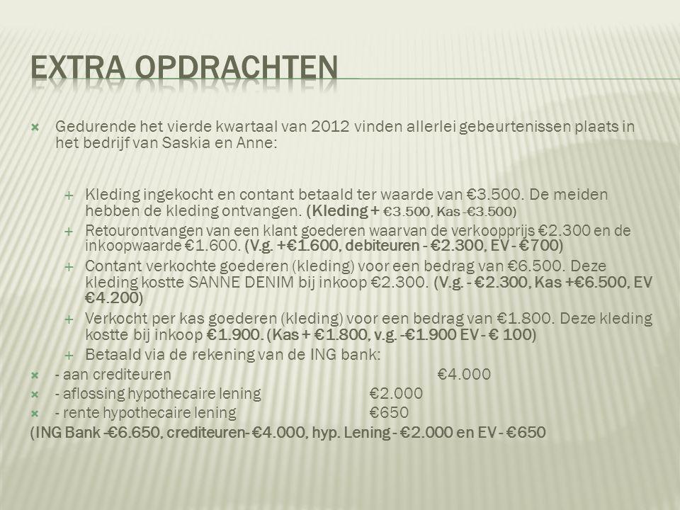  Gedurende het vierde kwartaal van 2012 vinden allerlei gebeurtenissen plaats in het bedrijf van Saskia en Anne:  Kleding ingekocht en contant betaa