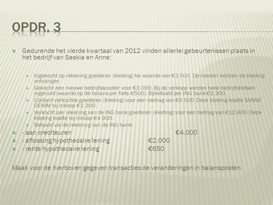  Gedurende het vierde kwartaal van 2012 vinden allerlei gebeurtenissen plaats in het bedrijf van Saskia en Anne:  Ingekocht op rekening goederen (kl