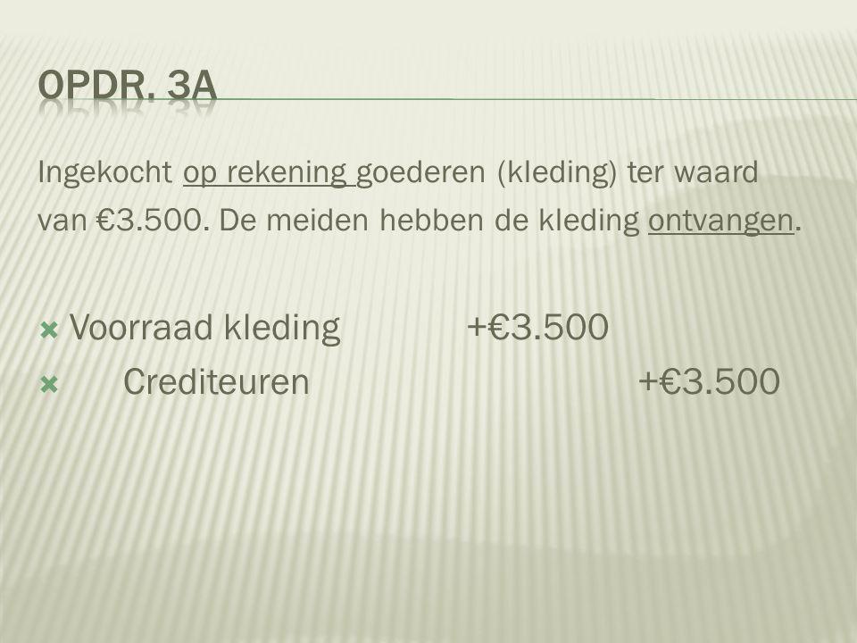 Ingekocht op rekening goederen (kleding) ter waard van €3.500. De meiden hebben de kleding ontvangen.  Voorraad kleding+€3.500  Crediteuren+€3.500