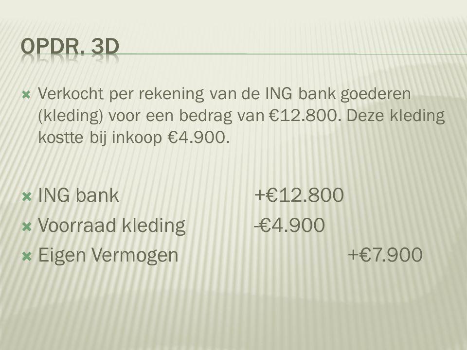  Verkocht per rekening van de ING bank goederen (kleding) voor een bedrag van €12.800. Deze kleding kostte bij inkoop €4.900.  ING bank+€12.800  Vo