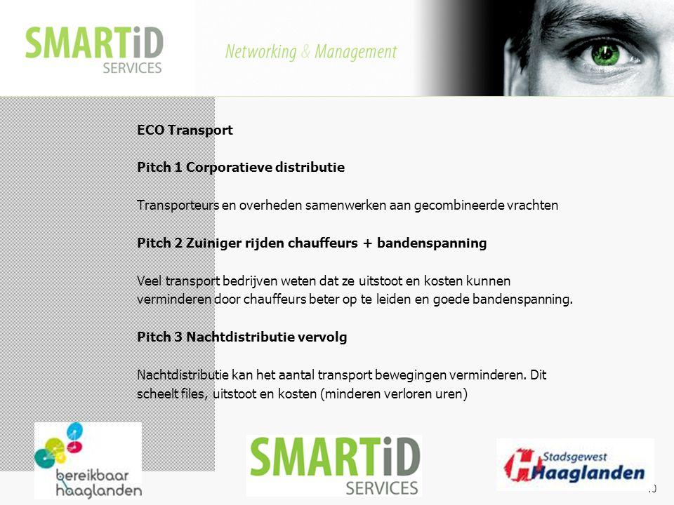 Aanpak ECO Transport Pitch 1 Corporatieve distributie Transporteurs en overheden samenwerken aan gecombineerde vrachten Pitch 2 Zuiniger rijden chauff