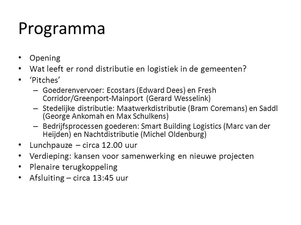Programma Opening Wat leeft er rond distributie en logistiek in de gemeenten? 'Pitches' – Goederenvervoer: Ecostars (Edward Dees) en Fresh Corridor/Gr