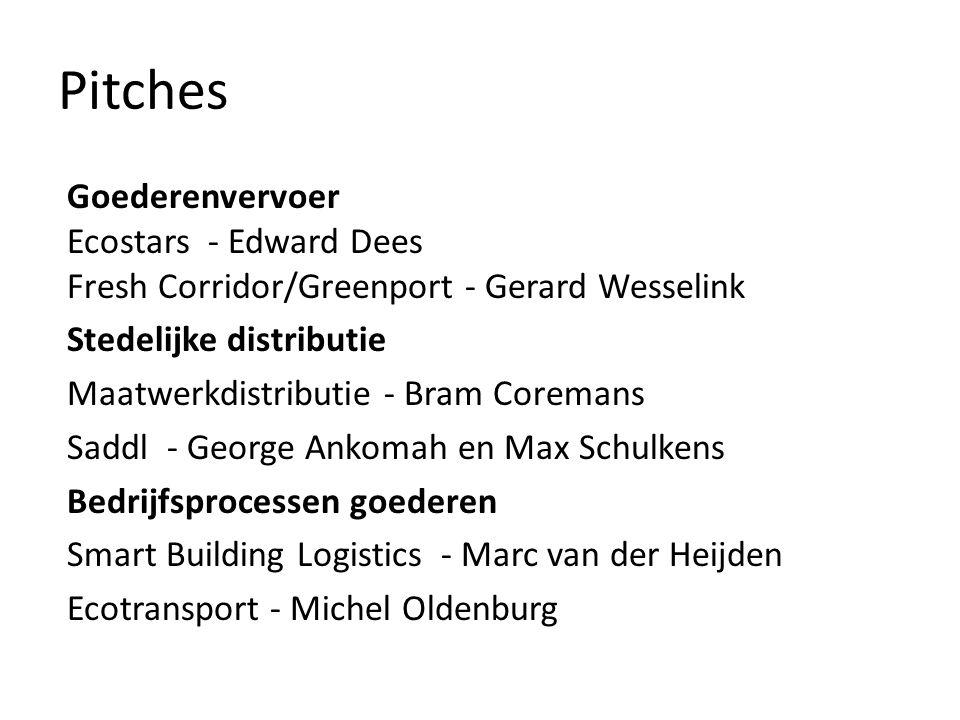 Pitches Goederenvervoer Ecostars - Edward Dees Fresh Corridor/Greenport - Gerard Wesselink Stedelijke distributie Maatwerkdistributie - Bram Coremans