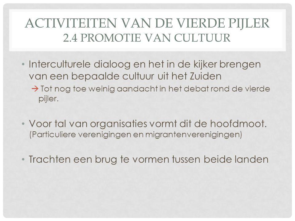 ACTIVITEITEN VAN DE VIERDE PIJLER 2.4 PROMOTIE VAN CULTUUR Interculturele dialoog en het in de kijker brengen van een bepaalde cultuur uit het Zuiden  Tot nog toe weinig aandacht in het debat rond de vierde pijler.