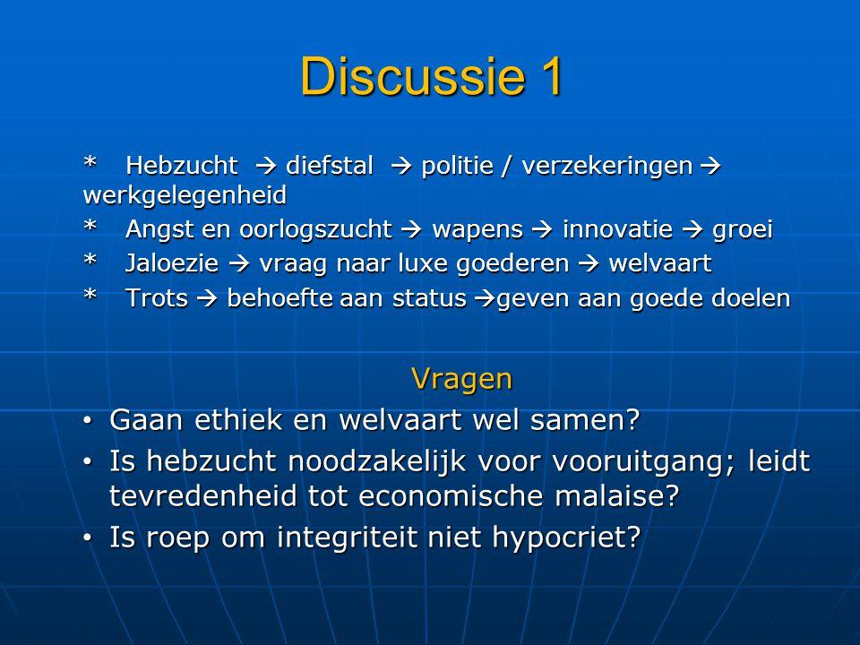 Discussie 1 *Hebzucht  diefstal  politie / verzekeringen  werkgelegenheid *Angst en oorlogszucht  wapens  innovatie  groei *Jaloezie  vraag naa