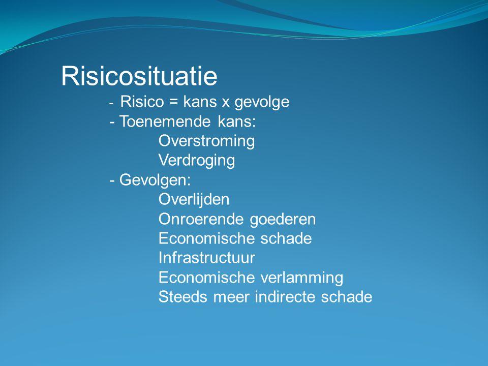 Risicosituatie - Risico = kans x gevolge - Toenemende kans: Overstroming Verdroging - Gevolgen: Overlijden Onroerende goederen Economische schade Infr
