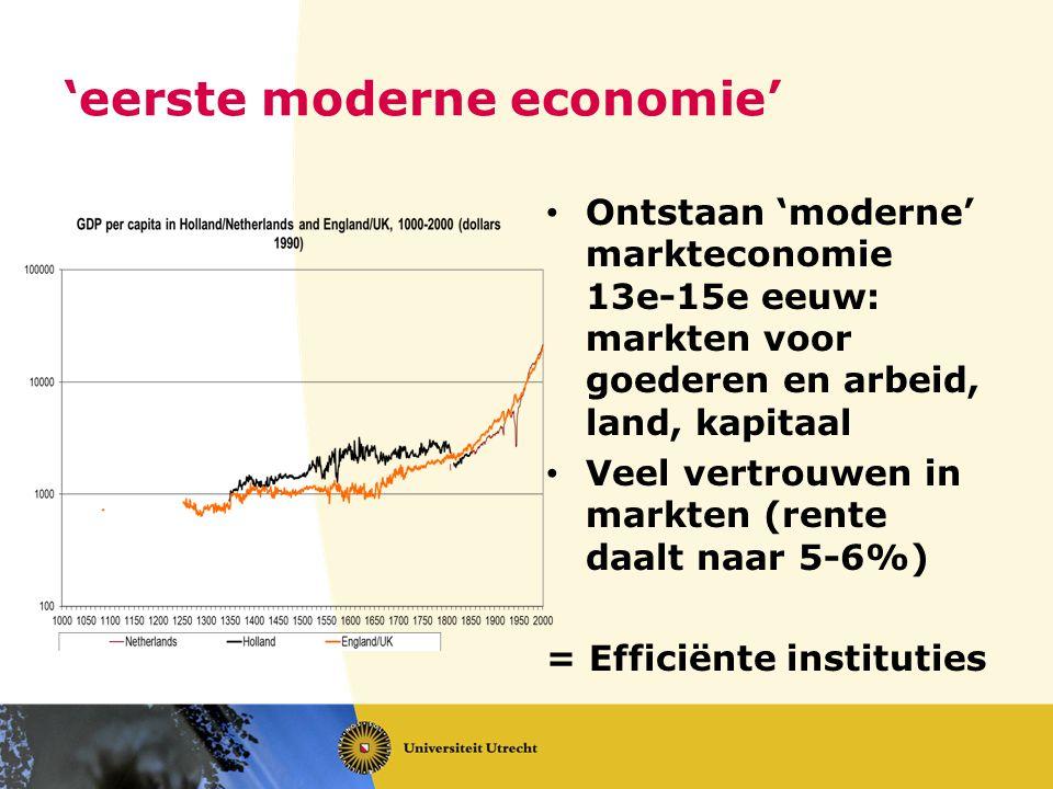 'eerste moderne economie' Ontstaan 'moderne' markteconomie 13e-15e eeuw: markten voor goederen en arbeid, land, kapitaal Veel vertrouwen in markten (r