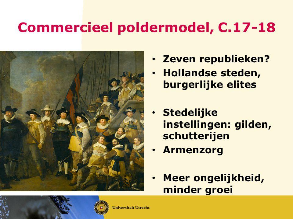 Commercieel poldermodel, C.17-18 Zeven republieken? Hollandse steden, burgerlijke elites Stedelijke instellingen: gilden, schutterijen Armenzorg Meer