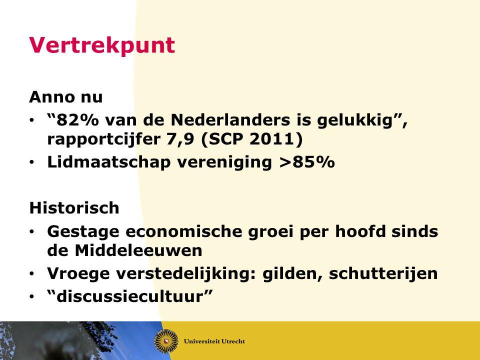 """Vertrekpunt Anno nu """"82% van de Nederlanders is gelukkig"""", rapportcijfer 7,9 (SCP 2011) Lidmaatschap vereniging >85% Historisch Gestage economische gr"""