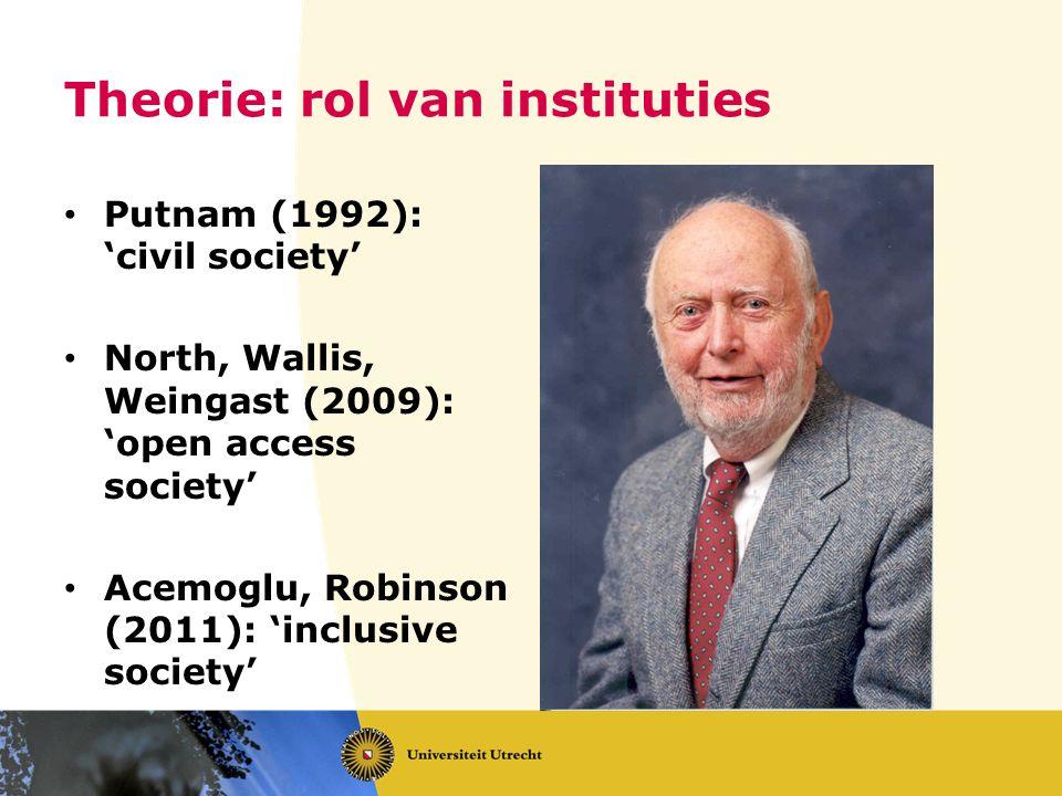 Theorie: rol van instituties Putnam (1992): 'civil society' North, Wallis, Weingast (2009): 'open access society' Acemoglu, Robinson (2011): 'inclusiv