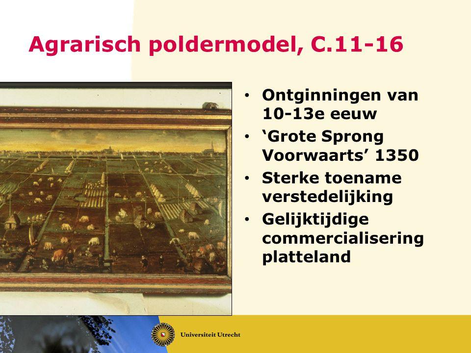 Agrarisch poldermodel, C.11-16 Ontginningen van 10-13e eeuw 'Grote Sprong Voorwaarts' 1350 Sterke toename verstedelijking Gelijktijdige commercialiser