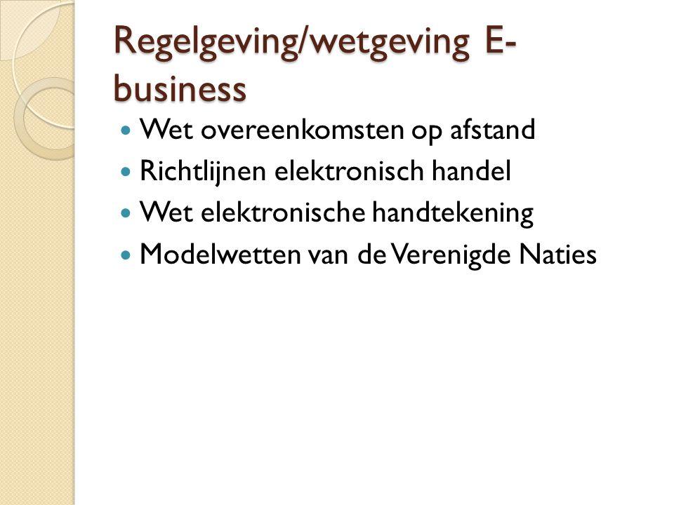 Regelgeving/wetgeving E- business Wet overeenkomsten op afstand Richtlijnen elektronisch handel Wet elektronische handtekening Modelwetten van de Vere