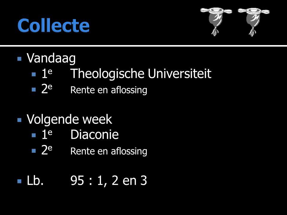  Vandaag  1 e Theologische Universiteit  2 e Rente en aflossing  Volgende week  1 e Diaconie  2 e Rente en aflossing  Lb. 95 : 1, 2 en 3
