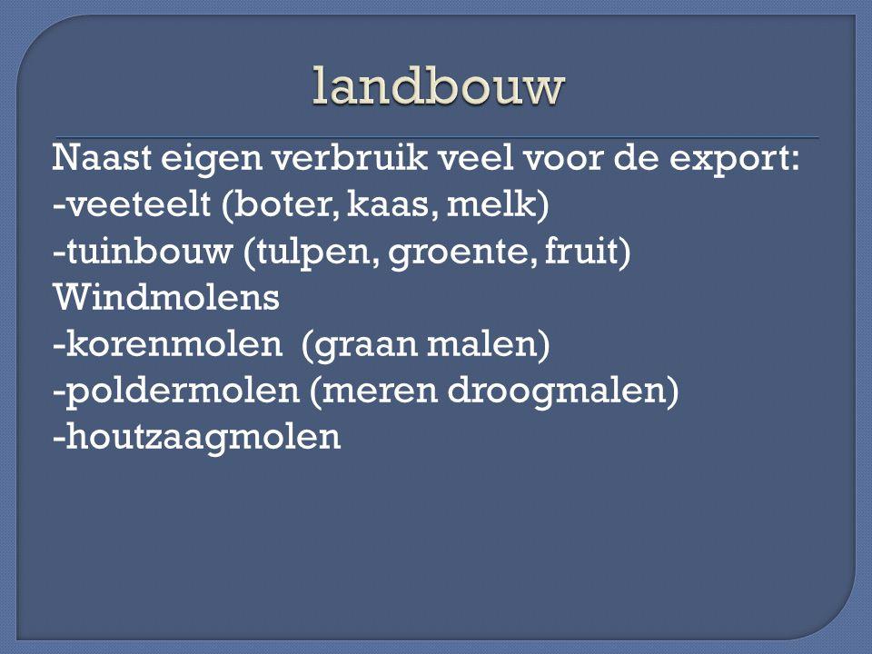 Naast eigen verbruik veel voor de export: -veeteelt (boter, kaas, melk) -tuinbouw (tulpen, groente, fruit) Windmolens -korenmolen (graan malen) -polde