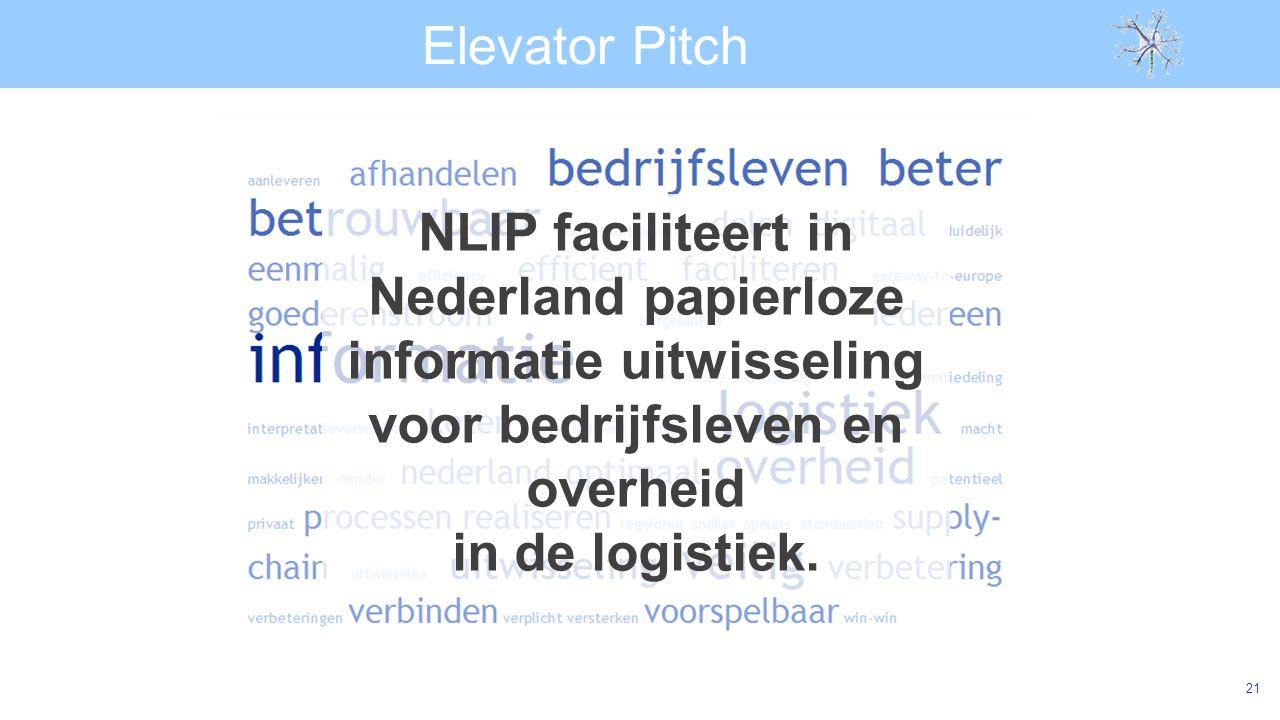 Elevator Pitch 21 NLIP faciliteert in Nederland papierloze informatie uitwisseling voor bedrijfsleven en overheid in de logistiek.