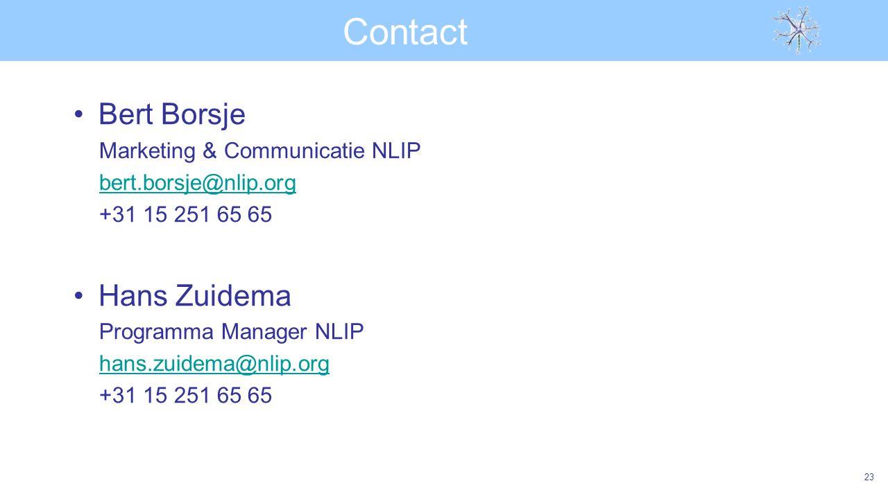 Contact Bert Borsje Marketing & Communicatie NLIP bert.borsje@nlip.org +31 15 251 65 65 Hans Zuidema Programma Manager NLIP hans.zuidema@nlip.org +31 15 251 65 65 23