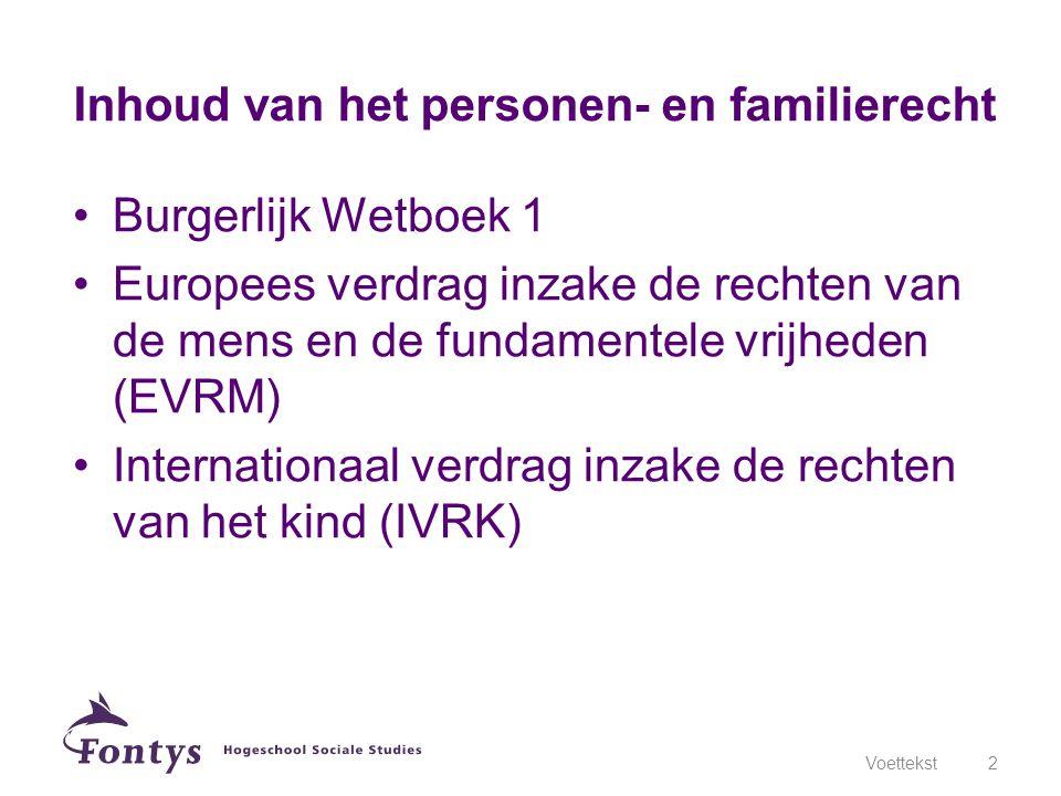 Burgerlijk Wetboek 1 Europees verdrag inzake de rechten van de mens en de fundamentele vrijheden (EVRM) Internationaal verdrag inzake de rechten van het kind (IVRK) Voettekst2 Inhoud van het personen- en familierecht