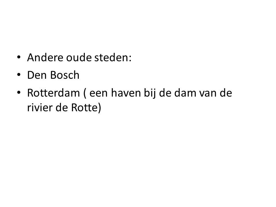 Andere oude steden: Den Bosch Rotterdam ( een haven bij de dam van de rivier de Rotte)