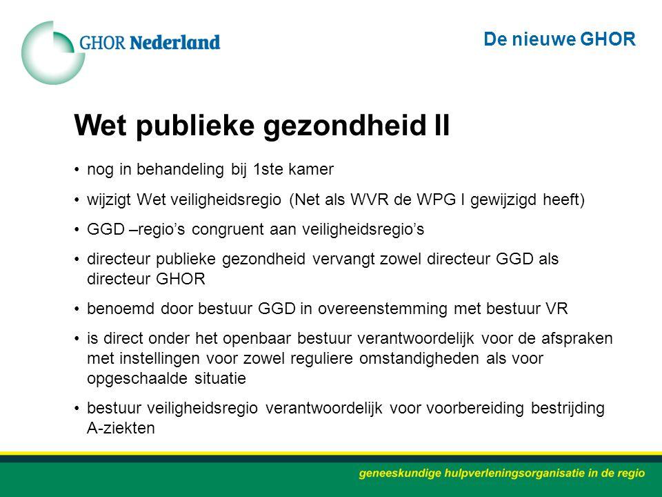 Wet publieke gezondheid II nog in behandeling bij 1ste kamer wijzigt Wet veiligheidsregio (Net als WVR de WPG I gewijzigd heeft) GGD –regio's congruen