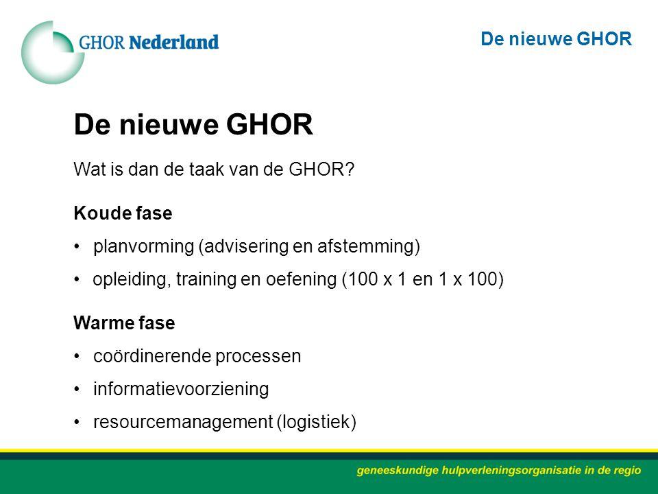 Wat is dan de taak van de GHOR? Koude fase planvorming (advisering en afstemming) opleiding, training en oefening (100 x 1 en 1 x 100) Warme fase coör