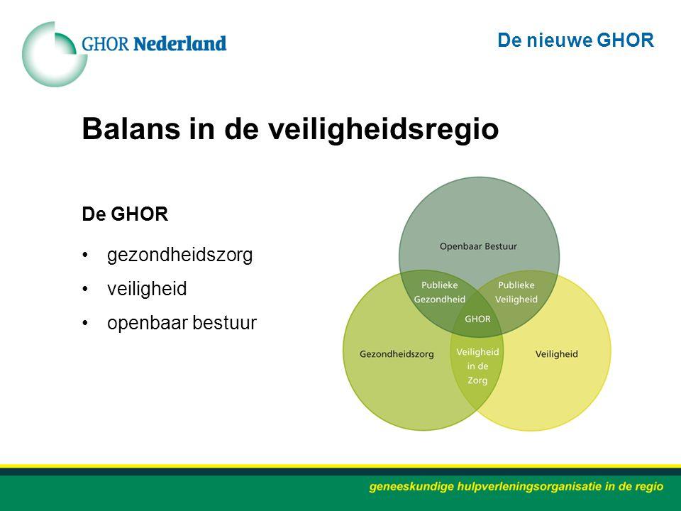 Balans in de veiligheidsregio De GHOR gezondheidszorg veiligheid openbaar bestuur De nieuwe GHOR