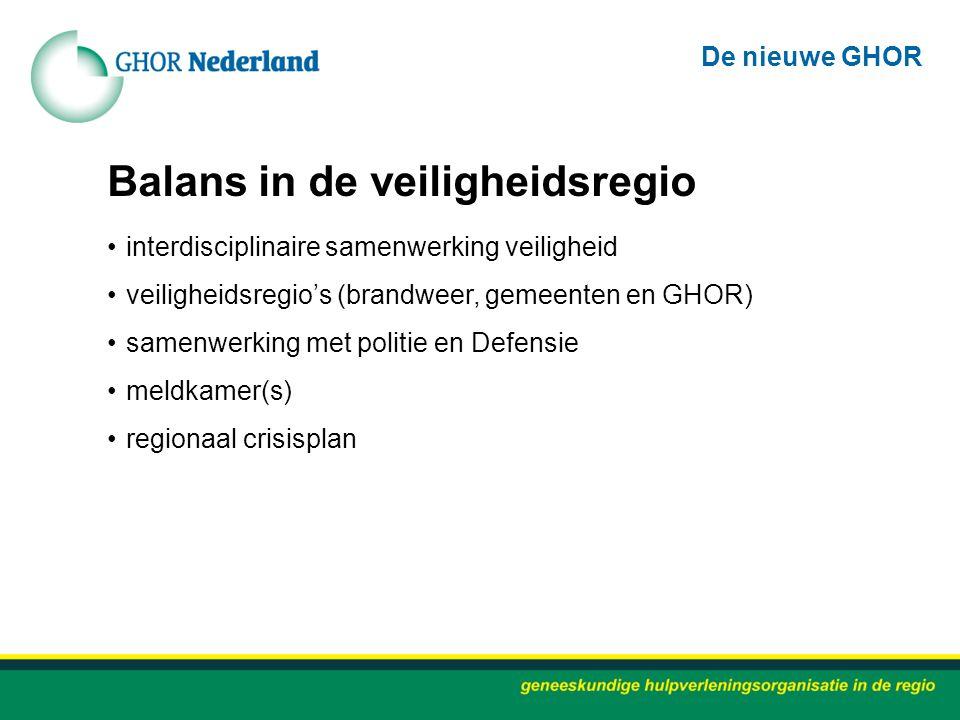 Balans in de veiligheidsregio interdisciplinaire samenwerking veiligheid veiligheidsregio's (brandweer, gemeenten en GHOR) samenwerking met politie en