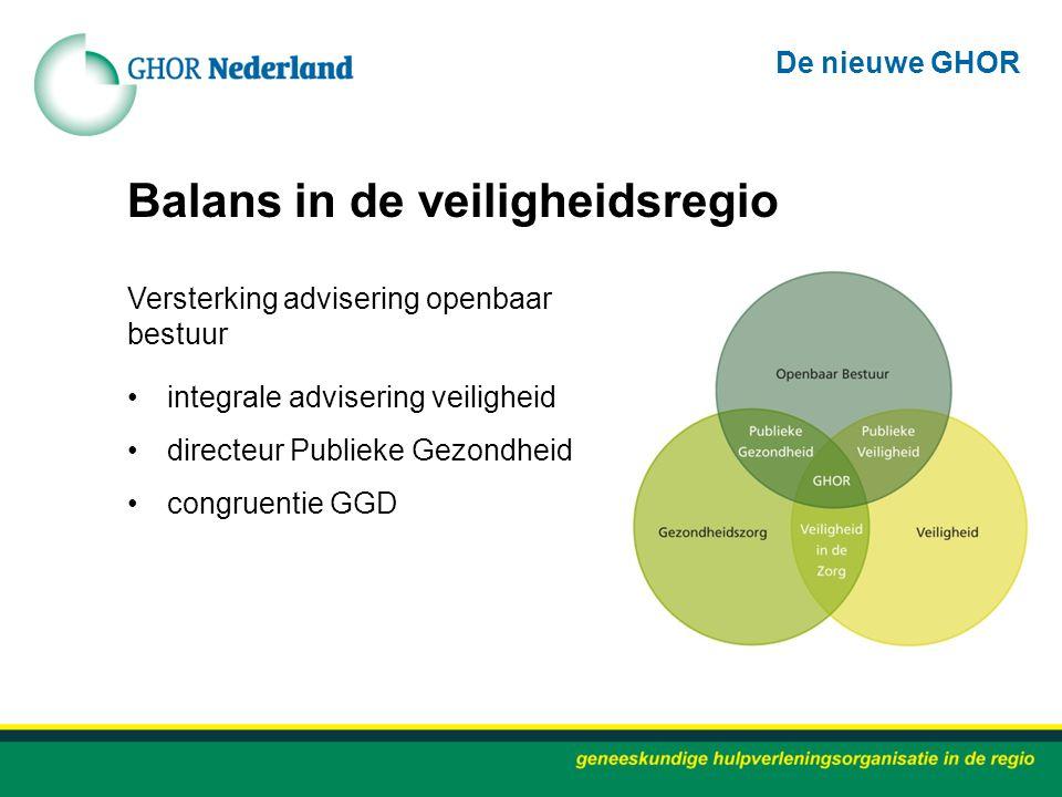 Balans in de veiligheidsregio Versterking advisering openbaar bestuur integrale advisering veiligheid directeur Publieke Gezondheid congruentie GGD De
