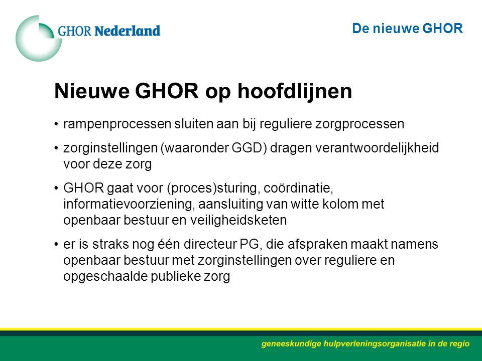 Nieuwe GHOR op hoofdlijnen rampenprocessen sluiten aan bij reguliere zorgprocessen zorginstellingen (waaronder GGD) dragen verantwoordelijkheid voor d