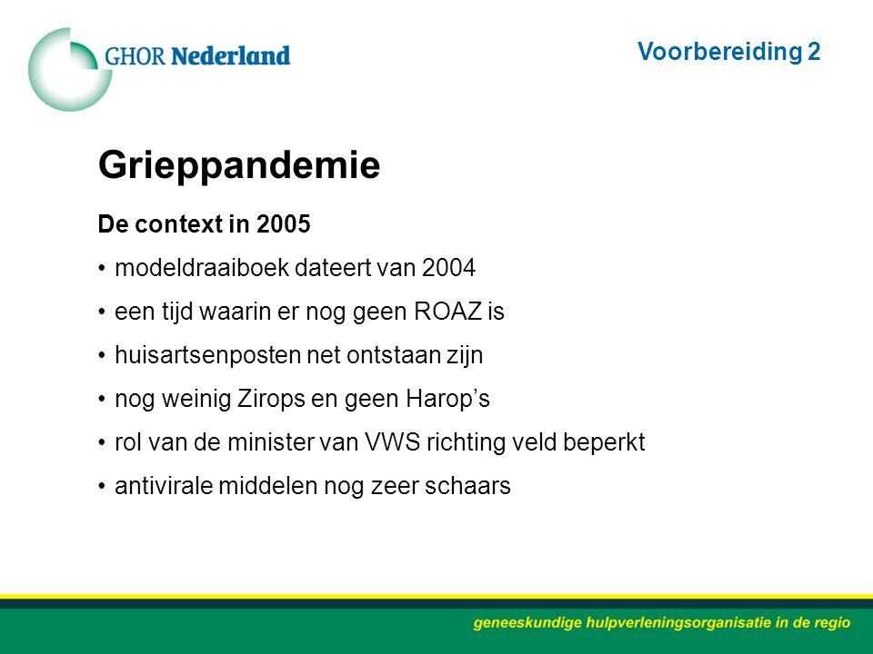 Grieppandemie De context in 2005 modeldraaiboek dateert van 2004 een tijd waarin er nog geen ROAZ is huisartsenposten net ontstaan zijn nog weinig Zir