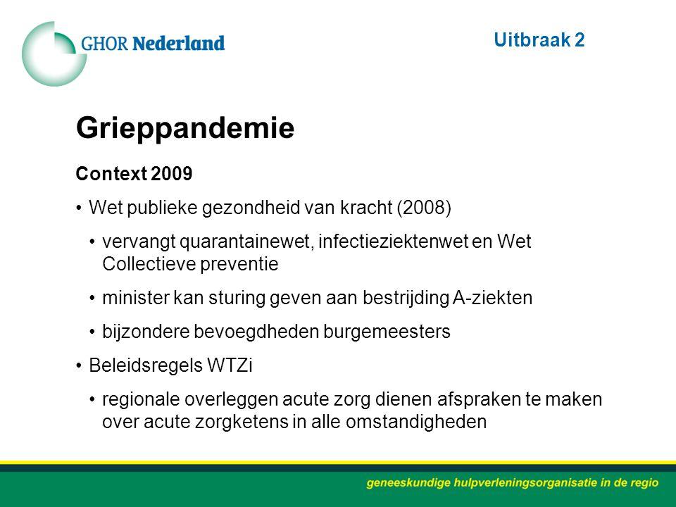 Grieppandemie Context 2009 Wet publieke gezondheid van kracht (2008) vervangt quarantainewet, infectieziektenwet en Wet Collectieve preventie minister
